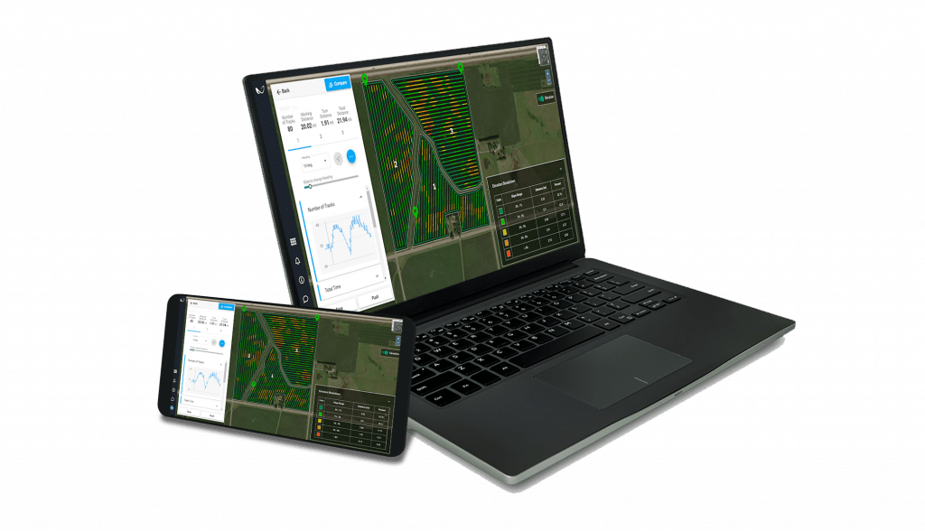 Laptop and mobile device showing LaunchPad | Precision Agriculture Tool
